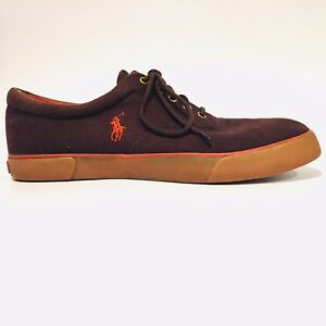 Polo-Ralph-Lauren-Brown-Canvas-Forestmont-II-Fashion-Sneakers-Shoes-Mens-SZ-13-D