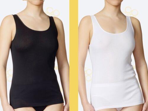 XS CALIDA 4 x Damen Unterhemd Top Gr L 11600 weiss schwarz Tank Top Feinripp