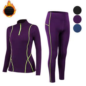 Womens-Thermal-Fleece-Mock-Neck-Base-Layer-Long-Pants-for-Running-Jogging-Yoga