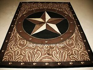 5x7 Rustic Cowboy Texas Star Western Decor Black Brown