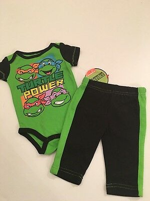 New Baby Boys 0//3M Teenage Mutant Ninja Turtles Outfit Hoodie Shirt /& Pants