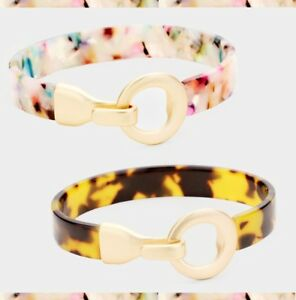 Statement-Bracelet-Fashion-Celluloid-Acetate-Round-Metal-Hook-Multi-Color-Gold