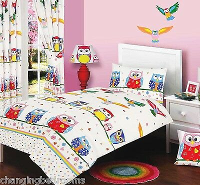 OWL LOVE KIDS BOYS GIRLS  DUVET SET CHOICE COT BED SINGLE DOUBLE SIZE  CURTAINS