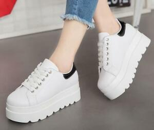 Women-039-s-Round-Toes-Sneakers-Casual-Heels-White-Wedge-Lace-Up-High-Platform-Pumps