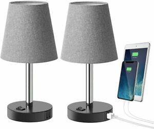 Lampe-de-table-avec-2-USB-Ports-de-charge-Lampe-de-chevet-table-de-chevet-Set-de-2