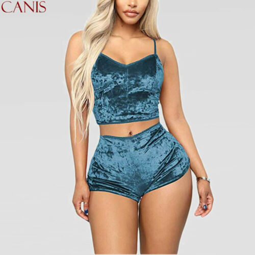 Women Ladies Velvet Sleepwear Pajamas Set Top+Short Pants Nightwear Plus Size US