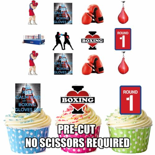 Precut Boxing 40 Edible Cupcake Toppers Decorations Boys Mens Best Boxing Party Decorations
