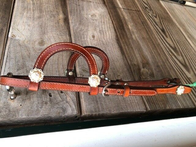 Leather double ear headstall with Rodeo Drive Conchos - AB