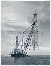 1954 Crane on Boat Sets Offshore Oil Well Tower Press Photo