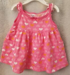 Gerber-Girls-Pink-White-Orange-Heart-Tank-Top-Shirt-Blouse-Size-3-to-6-Month