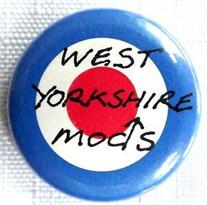 WEST-YORKSHIRE-MODS-Target-Old-OG-Vtg-1980-s-Button-Pin-Badge-25mm-mod
