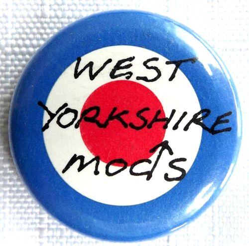 WEST YORKSHIRE MODS Target Old OG Vtg 1980`s Button Pin Badge 25mm mod