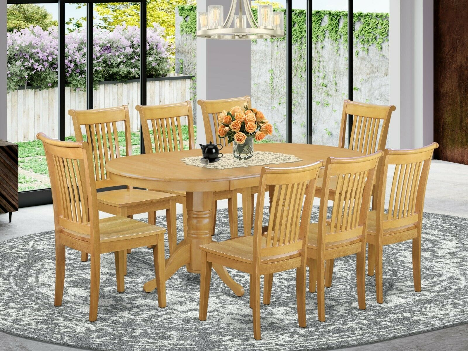 9pc Oval Vancouver Dining Room Set Table 8 Portland Wood Seat Chairs Light Oak For Sale Online