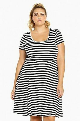 Torrid Womens Skater Dress Plus Size 0X Large Black/White Striped Ribbed  (PPP9) | eBay