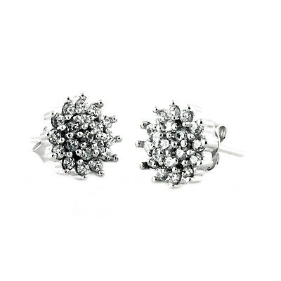 Sterling Silver 925 Chrysanthemum Flower Round Stud Earrings