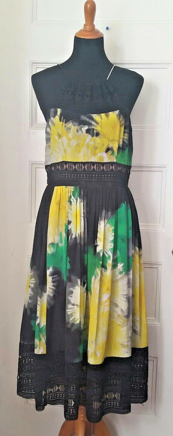 NWT Tracy Reese Yellow Floral Lace Inset Halter Dress Size Size Size 10 3b1442