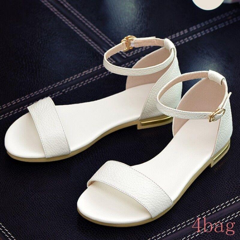New Women's Open Toe Ankle Strap Flat Heels Sandals Casual shoes color 3 Plus Sz