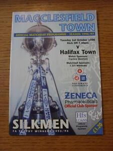 01101996 Macclesfield Town v Halifax Town Last Non League Season - <span itemprop=availableAtOrFrom>Birmingham, United Kingdom</span> - Returns accepted within 30 days after the item is delivered, if goods not as described. Buyer assumes responibilty for return proof of postage and costs. Most purchases from business s - Birmingham, United Kingdom