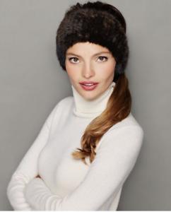 6a3823b98ff NEW Saks Fifth Avenue Women s Brown Knitted Rabbit Fur Headband  105 ...