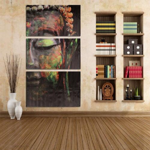 3PCS//Set Wall Art Living Room Decor Canvas DIY Buddha Oil Painting Home Office