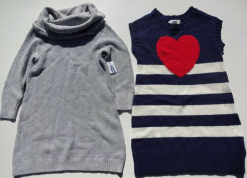 OLD NAVY GIRLS KNIT DRESSES METALLIC  SILVER AND BLUE//WHITE SIZES 3T AND 18-24 M