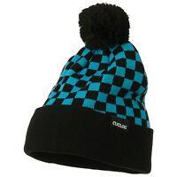 Teal & Black Pom Pom Ski Checker Winter Skull Warm Cuffed Long Knit Beanie Hat