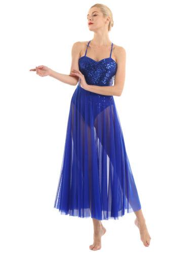 Women Sequine Maxi Dress Ballet Dance Lyrical Modern Tank Leotard Ballroom Skirt