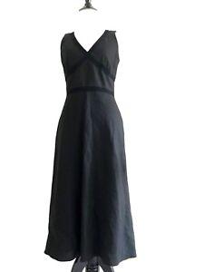 d355ad3a611 Banana Republic Long Linen Dress Size 2 Black Sleeveless V-neck ...