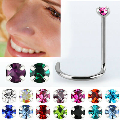 0 6mm 18k Gold Nose Bone Stud Post 1 25mm Round Clear Cz Crystal