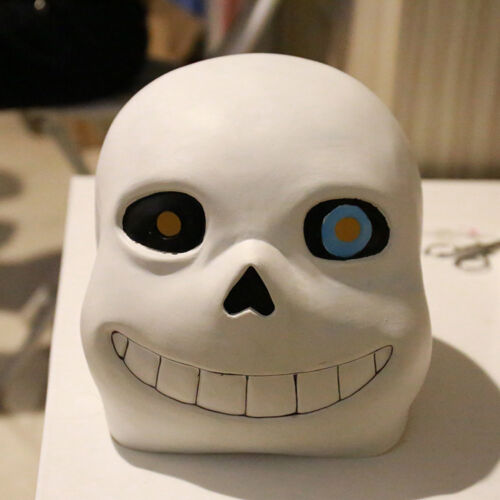 HQ Undertale Sans Papyrus Mask Cosplay Solid Latex Halloween Helmet Blue Eyes