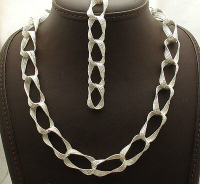 Diamond Cut Twisted Torque Chain Bracelet Necklace Set Real 925 Sterling Silver
