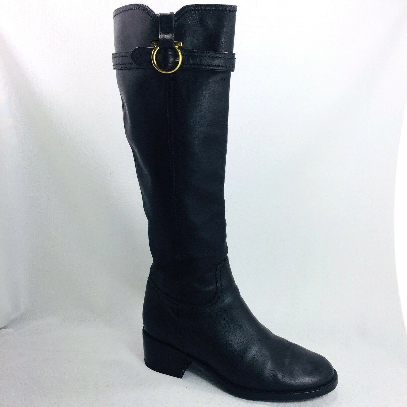 Salvatore Ferragamo Robespierre Gancini Black Leather Tall Riding Boots Size 9.5