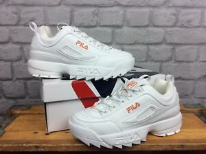 Details zu FILA UK 5 EU 38 1/2 LADIES DISRUPTOR II WHITE ORANGE TRAINERS  CHUNKY KICKS