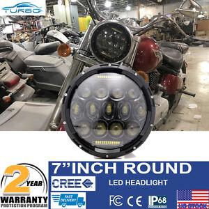 7 Black Led Headlight For Kawasaki Vulcan Nomad 800 900 Halogen