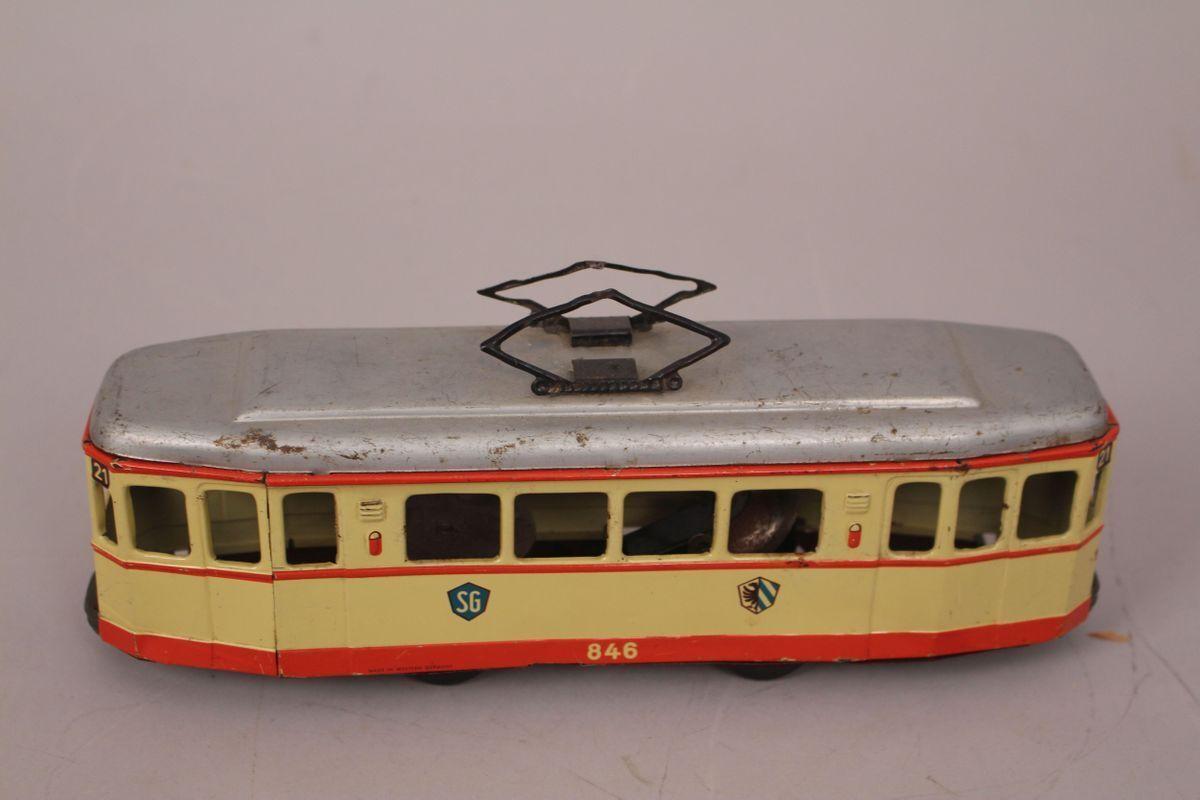 Sg Günthermann Tramway 846 Station 21 Wagon Friction Tin Toy