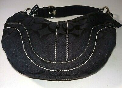 Purse Coach Dark Brown Signature Canvas /& Leather #10073 Small Handbag