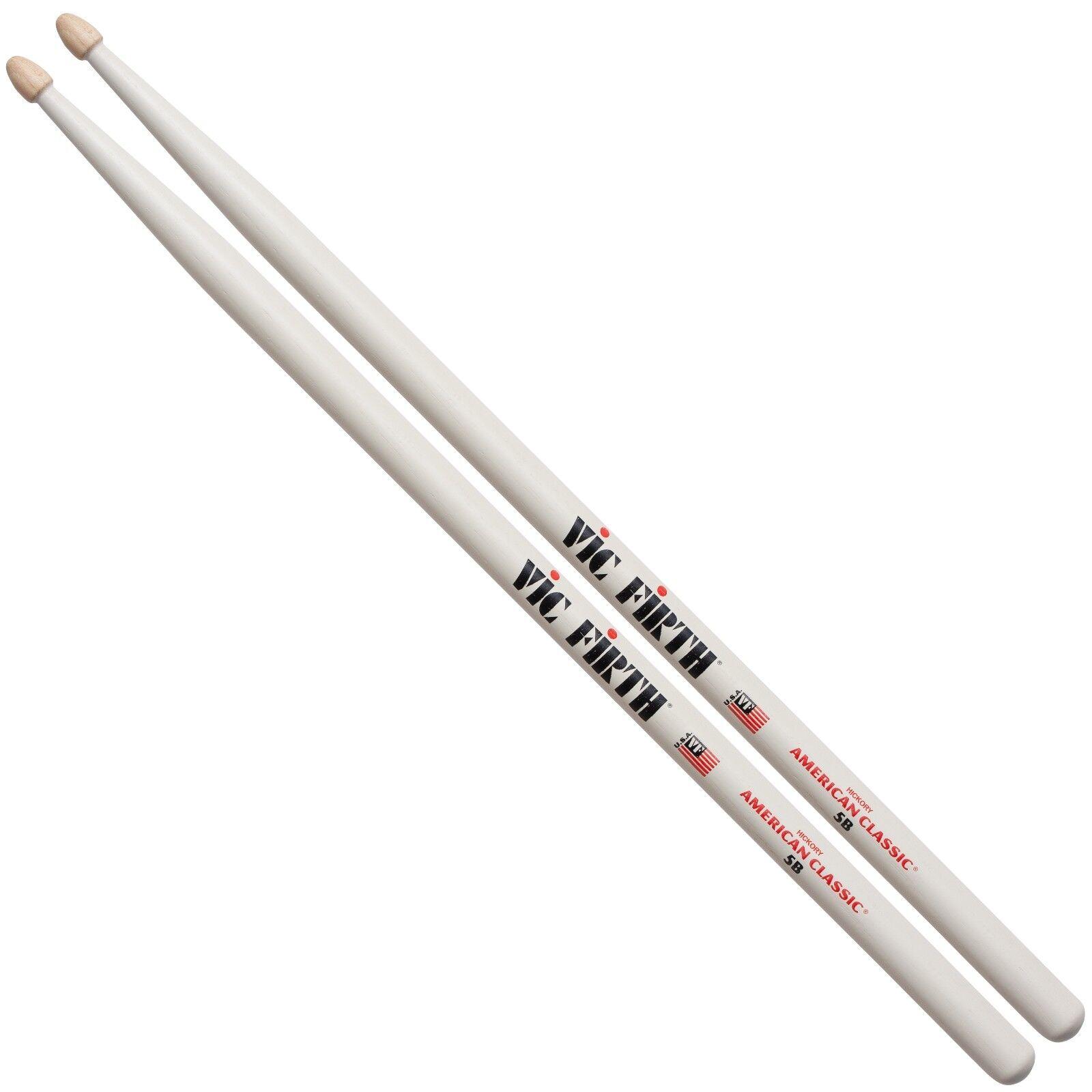 Vic Firth 5B Weiß Wood Tip Drum Sticks - 1 pair, 2 pairs, 6 pairs, 12 pairs