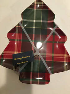 Tommy Bahama Plaid Christmas Tree Plates Melamine Set 4