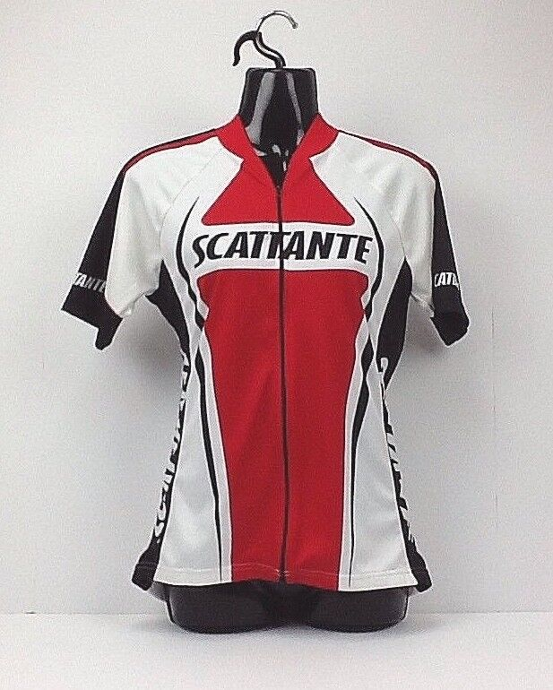 Scattanta Cycling Shirt Womens Size Meduim Bicycle  Athlethic Top White Red (I)  supply quality product