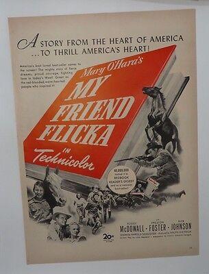 Original Print Ad 1943 Movie Artwork My Friend Flicka Roddy Mcdowell Professional Design Advertising