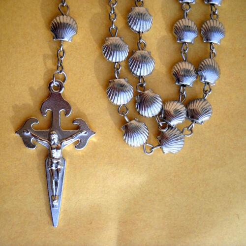 Camino De Santiago Rosary St. James Scallop Shell Beads Necklace Pilgrim New
