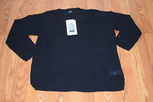 091c0e310 NWT Womens CALVIN KLEIN Black V-Neck Light Weight Knit Sweater Size ...