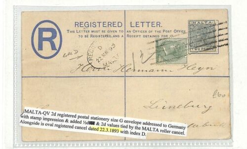 AB229 1893 Malta Germany Registered Postal Stationery Cover {samwellscovers}PTS