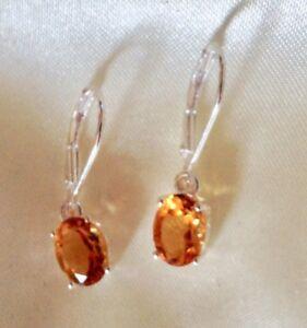 1.5 Ct, Natural, Citrine Dangle Earrings, Lever Back, Sterling Silver Produkte Werden Ohne EinschräNkungen Verkauft
