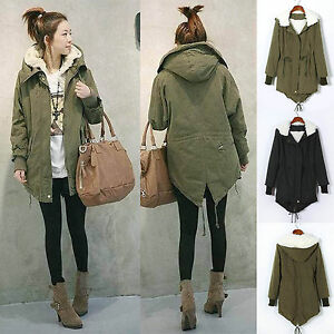 Ladies Girls Hoodie Parka Fleece Top Winter Warm Coat Womens Long ...