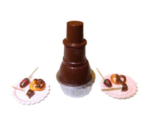 DOLLHOUSE Chocolate Fountain with Strawberries Marshmallow Pretzel SM Miniature