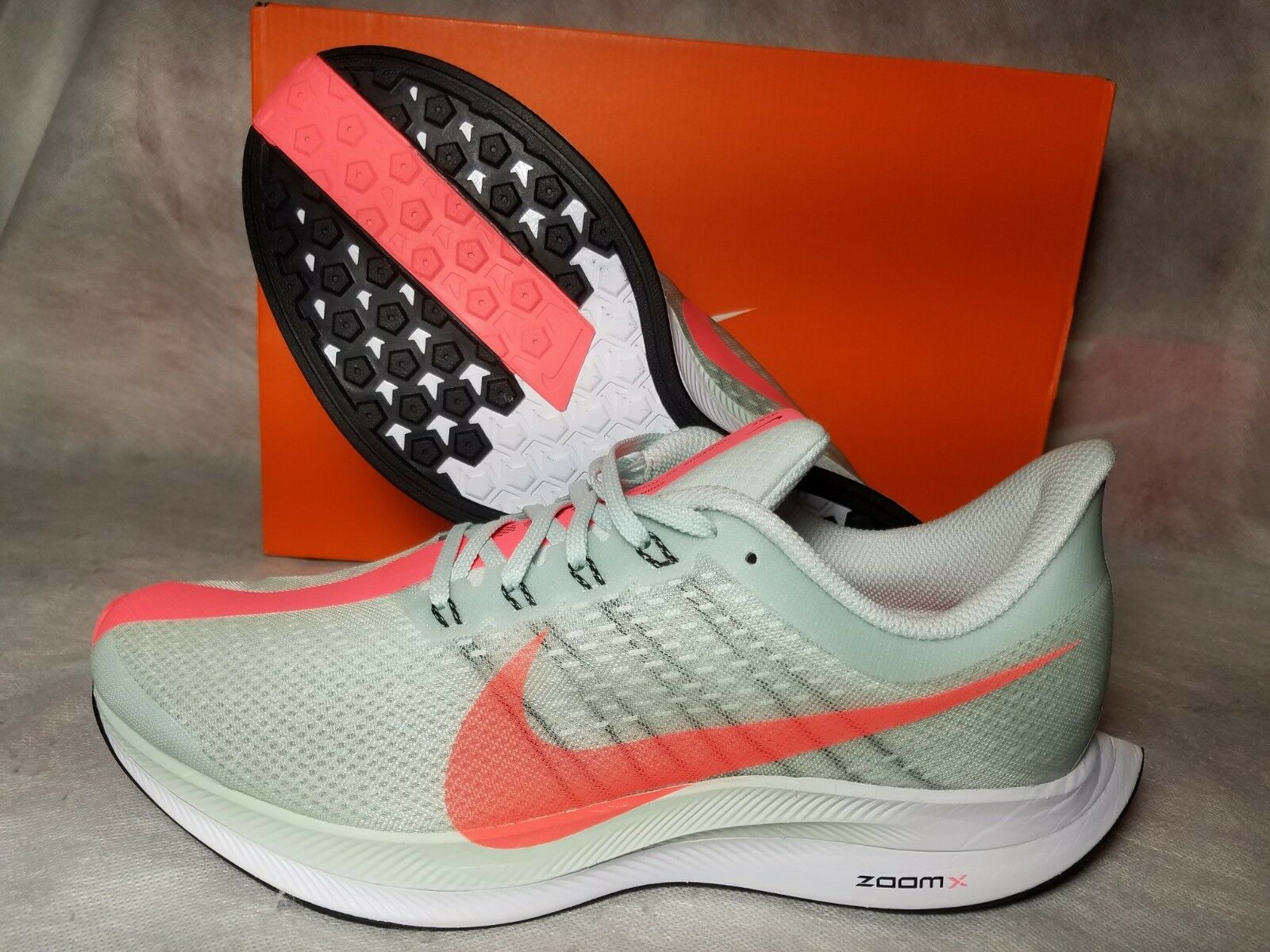 New Nike Zoom X Pegasus 35 Turbo Running shoes Men 10.5 Grey Hot Punch AJ4114-060