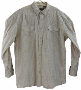 Roper-Mens-Western-Shirt-Size-2XLT-Big-Tall-Yellow-Plaid-Long-Sleeve-Pearl-Snaps