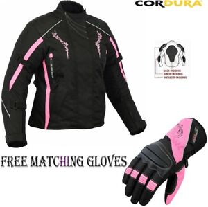 LADIES-PINK-SPEED-MAXX-WOMENS-CE-MOTORBIKE-MOTORCYCLE-TEXTILE-JACKET-GLOVES-SET