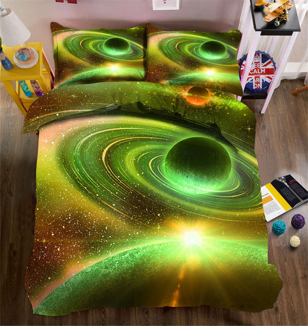 Grün Cosmic Vortex 3D Printing Duvet Quilt Doona Covers Pillow Case Bedding Set